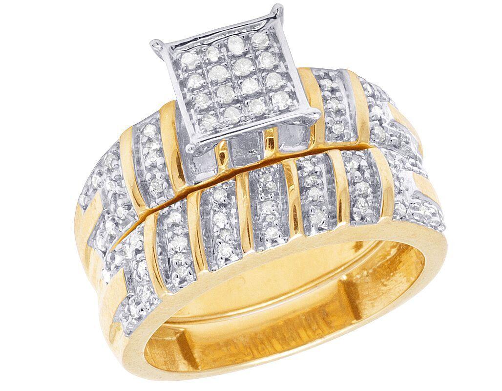 Ladies Menu0027s 10K Yellow Gold Genuine Diamond Square Trio Wedding Ring Set  1/2 CT