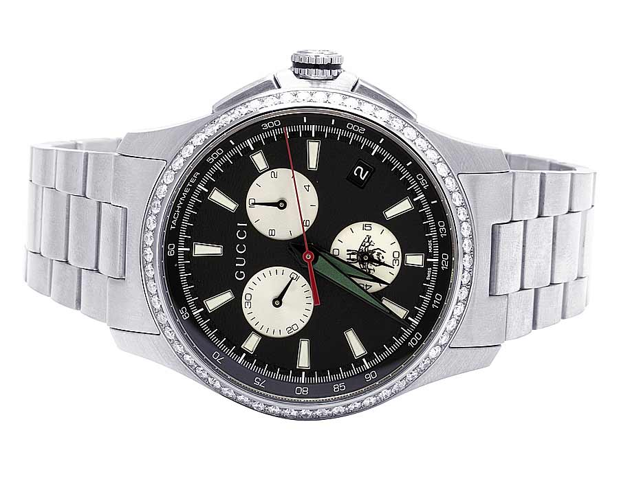 87986c5d637 Mens Gucci G-Timeless Stainless Steel Chrono 44MM Diamond Watch YA126267  1.75 Ct