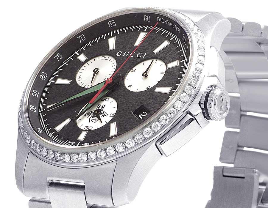 409fdeea6e9 Mens Gucci G-Timeless Stainless Steel Chrono 44MM Diamond Watch YA126267  1.75 Ct