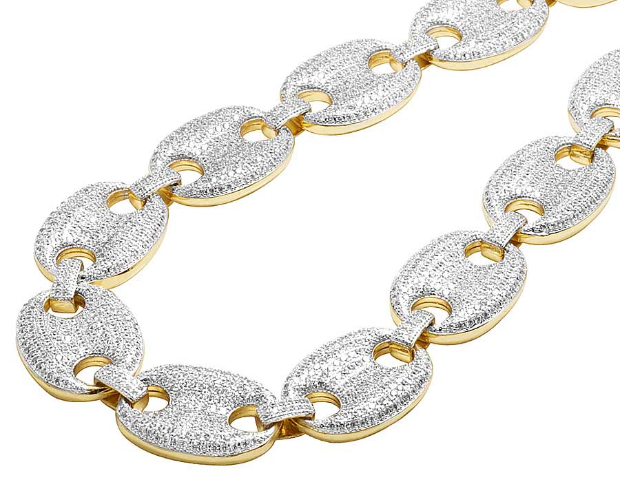 1693c3a0d Details about Solid Yellow Gold Finish Puff Gucci Simulated Diamond  Necklace Chain 26