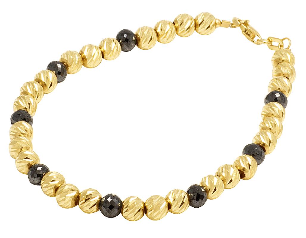 1ff85614af9 Ladies 14K Yellow Gold Real Black Diamond Beaded Mooncut Bracelet 8 CT 5mm  7