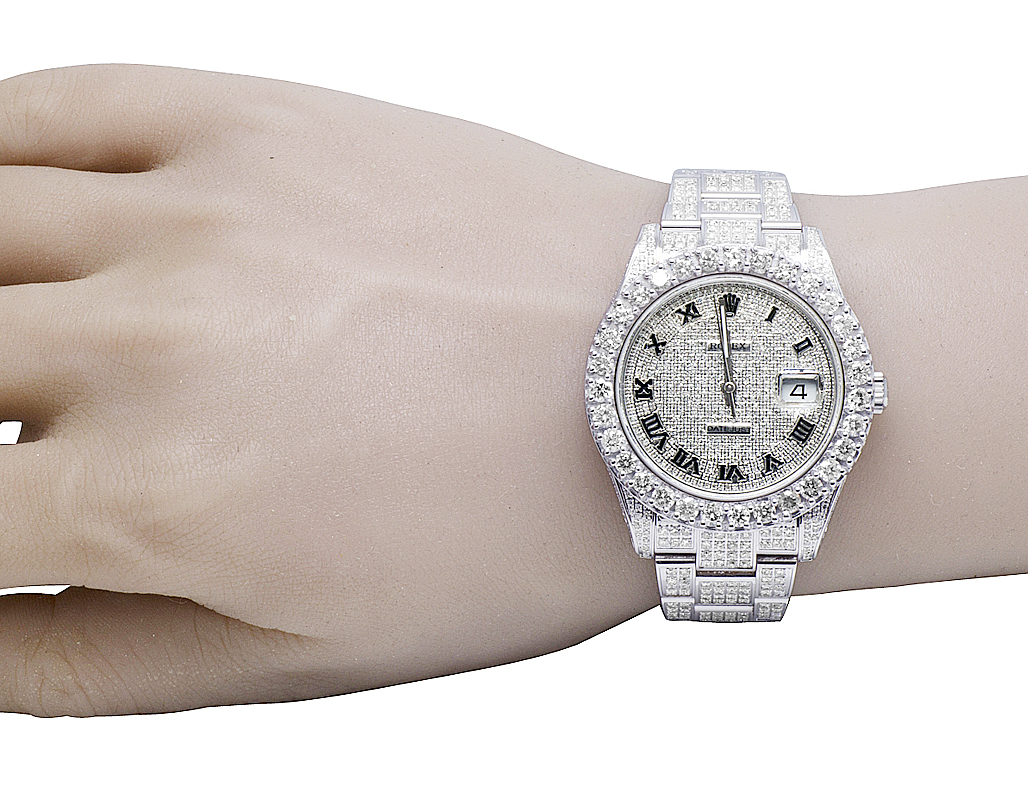 Rolex Datejust Ii Full Iced Out 41mm 116300 Pave Dial