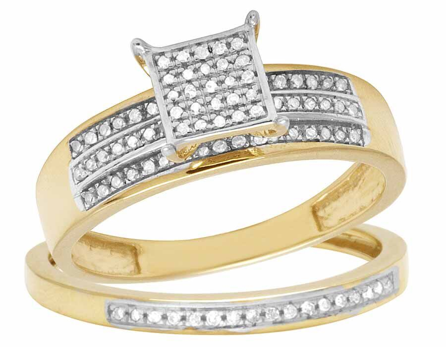 10K Yellow Gold Real Diamond Two Piece Square Bridal Wedding Ring