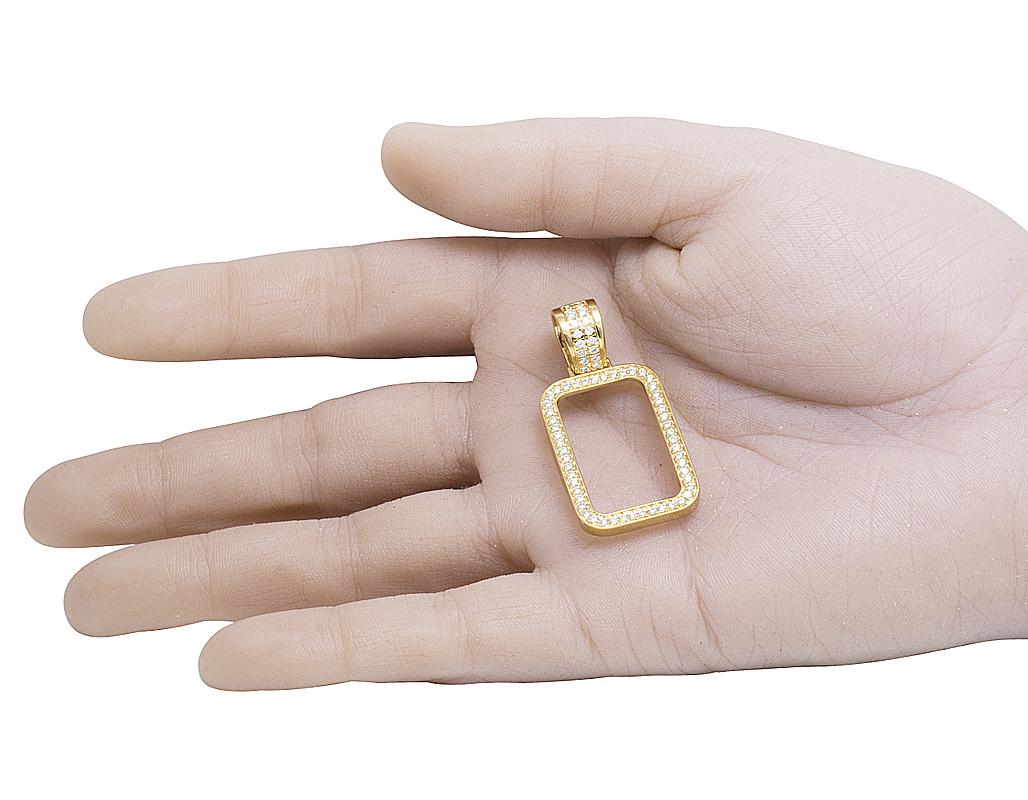 Mens 10K Yellow Gold 1 Row Real Diamond Frame Coin Bar Charm Pendant ...