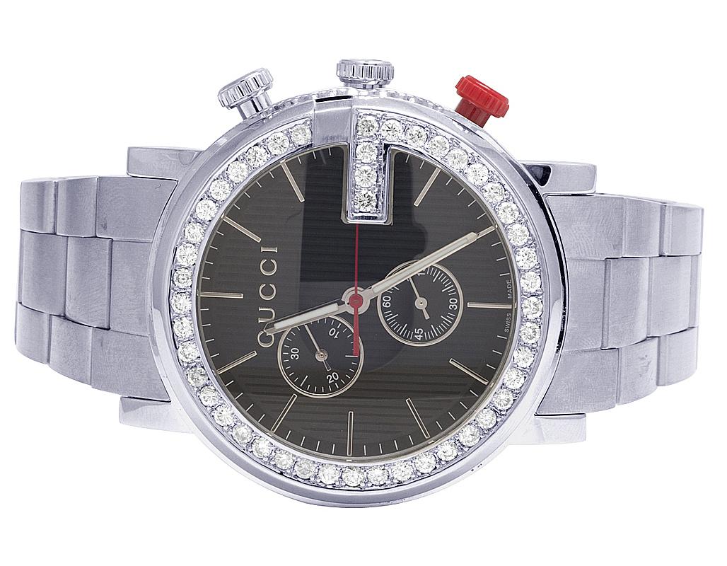 9ffaf90c75d Mens Gucci 101 G-Chrono 44MM S.Steel Black Dial Diamond Watch YA101361 3.0  Ct