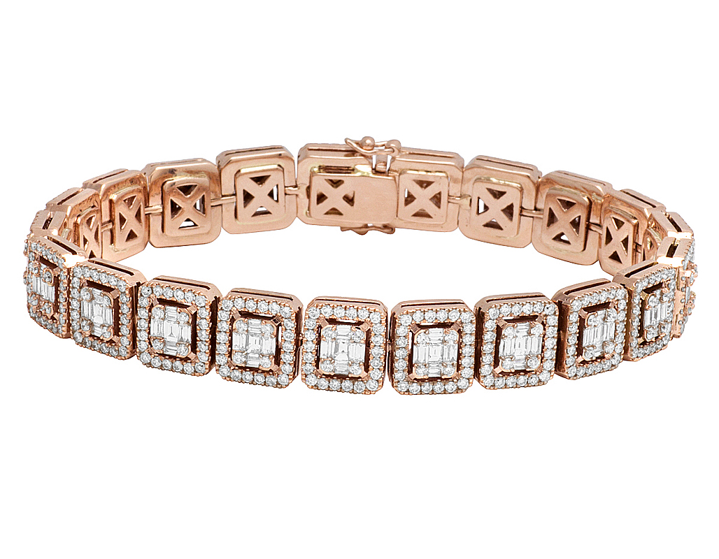 6c05562599650 Details about Mens Square Baguette Diamond Statement Designer 10K Rose Gold  Bracelet 8 1/2CT