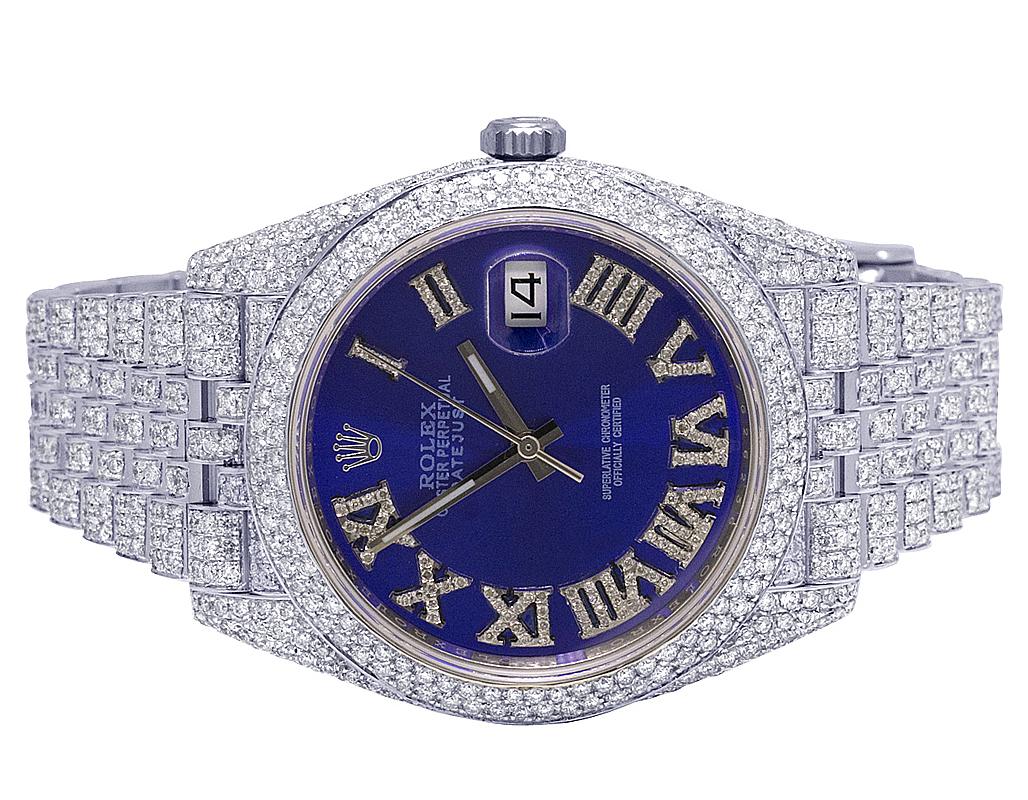 a basso prezzo d4b89 98b02 Dettagli su Da Uomo rolex Datejust II 126300 41MM S.Acciaio Quadrante Blu  Diamante Orologio