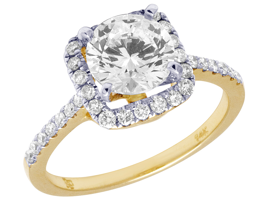Real 14KT Yellow Gold 2.20 Carat Pleasing Square Cut Solitaire Engagement Ring