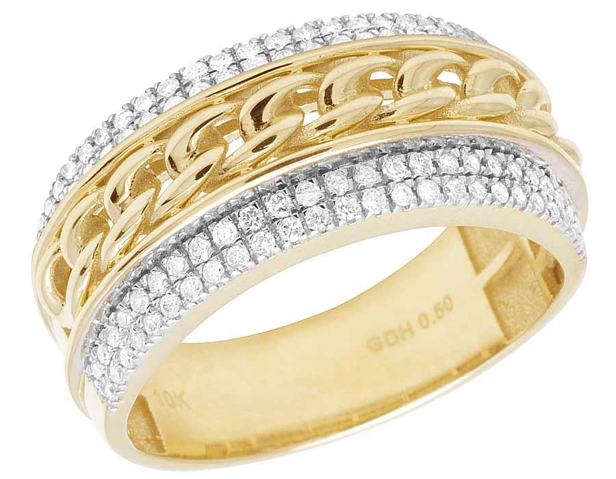 e568bda811b8b Details about Men's 10K Yellow Gold Cuban Link Real Diamond Ring Band 1/2  CT 10MM