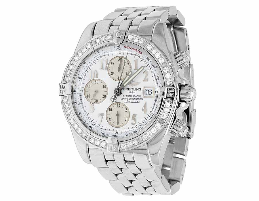 9c9f413382d Personalizzato Mens Breitling A13356 Evolution Chronomat 43mm diamante  bianco Watch 3.0 Ct