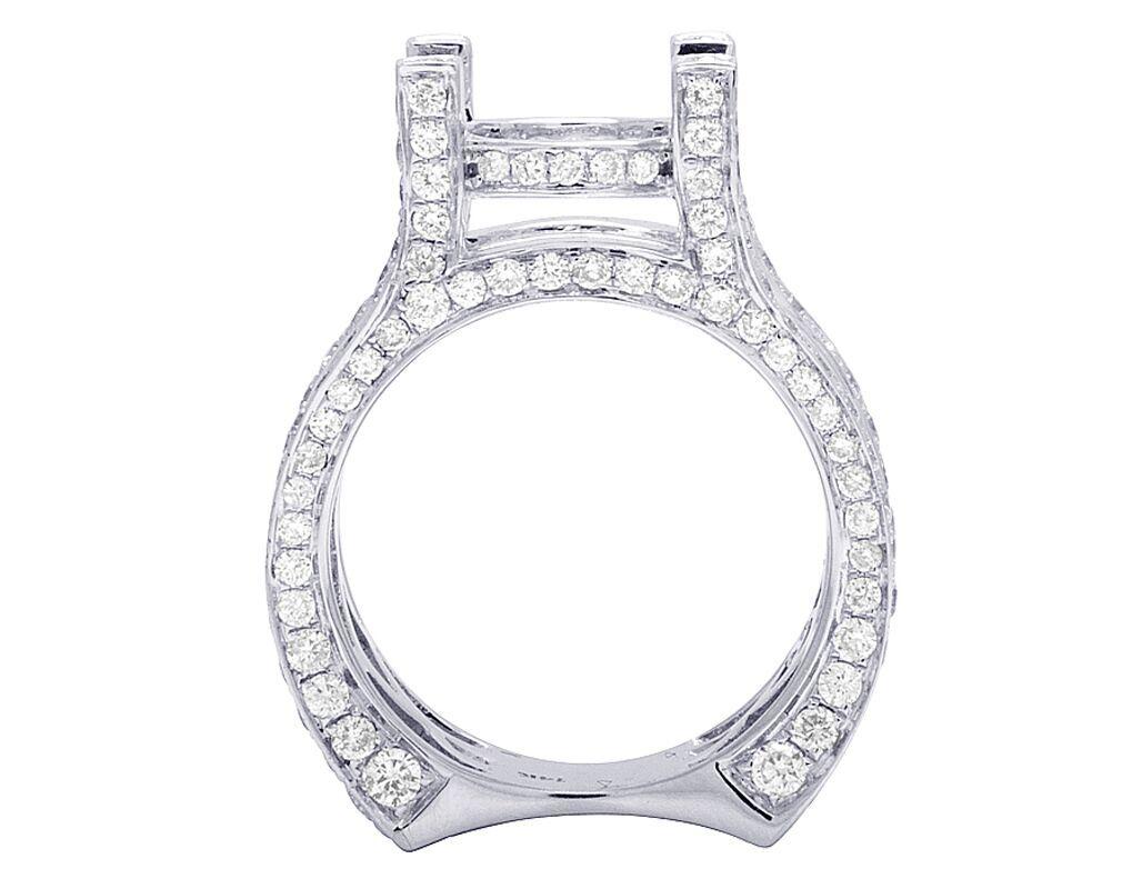 14k White Gold Real Princess Cut Diamond Semi Mount