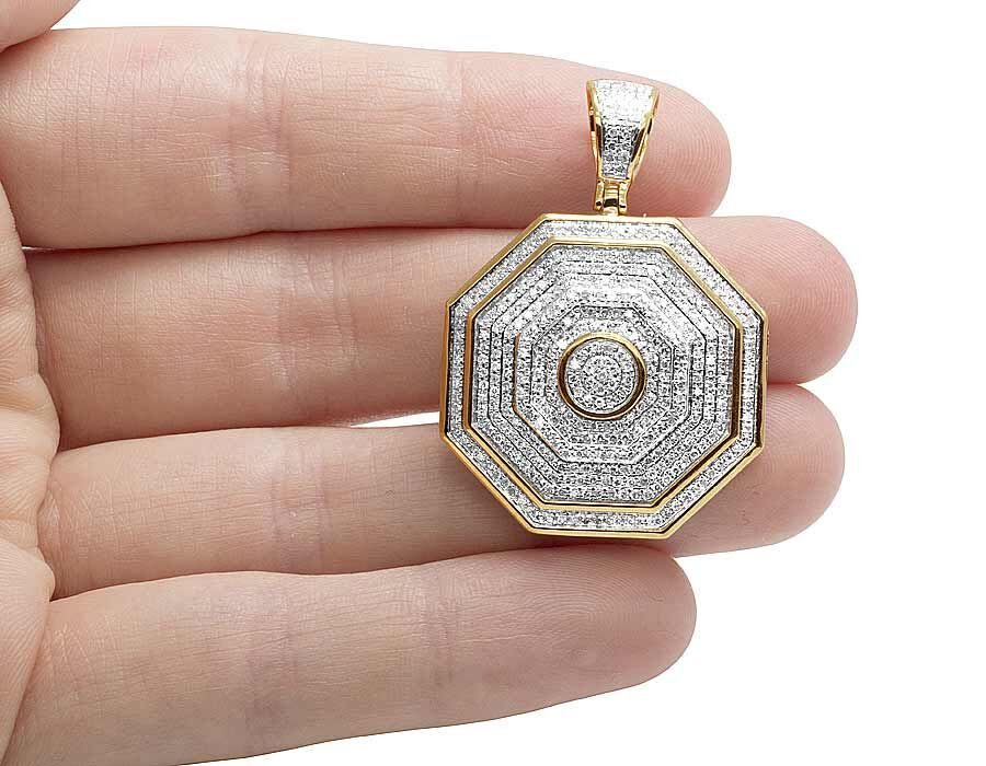 micro hop rappers in from hip chain mens square cuban octagon luxury stone with out necklaces goldtone saphire blue pendant item iced
