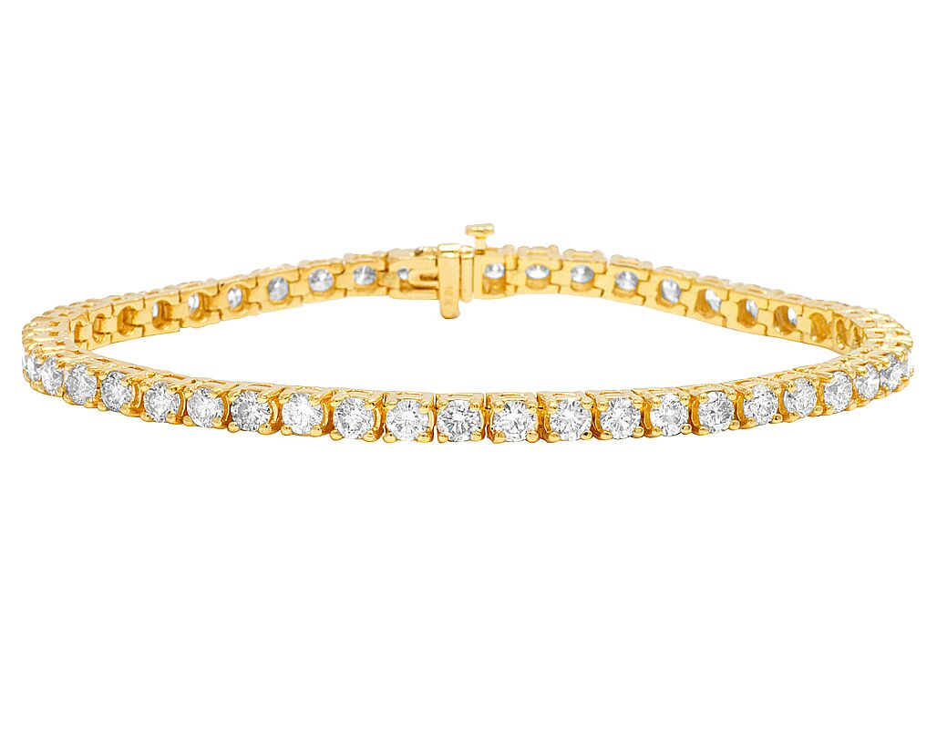 Real 14k Yellow Gold 4mm Tennis Solitaire Genuine Diamond Bracelet 9 1 10 Ct 8
