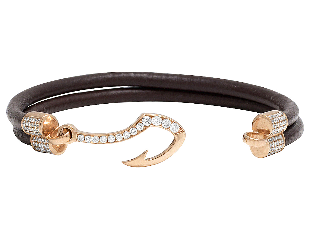 Mens 14k Rose Gold Real Diamond Fish Hook Angkor Brown Leather Bracelet 1 2ct