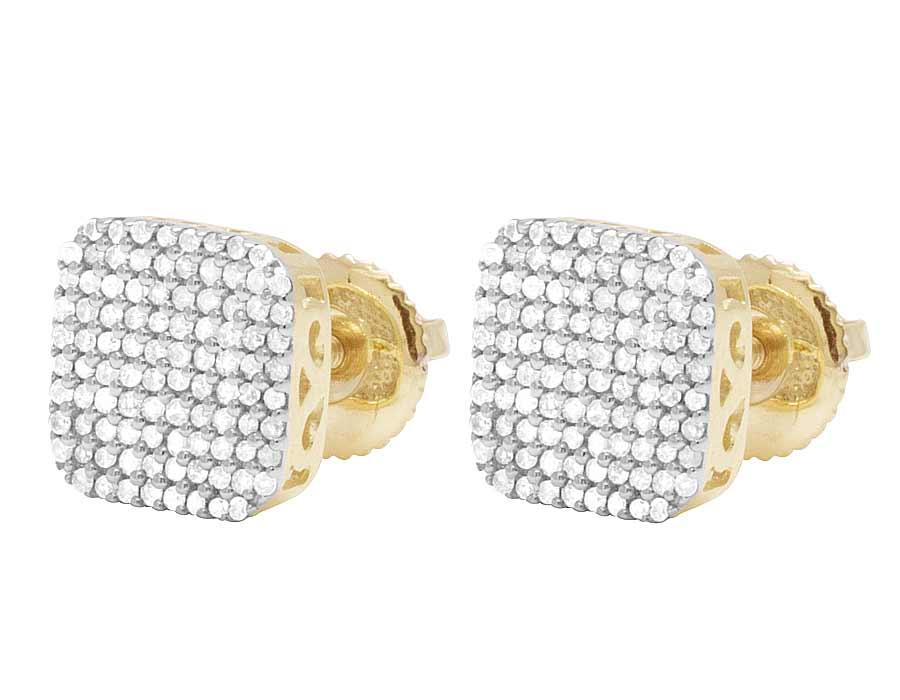 Men/'s Ladies 10K Yellow Gold Genuine Diamond Square Stud Earring 1//4 Ct 8MM
