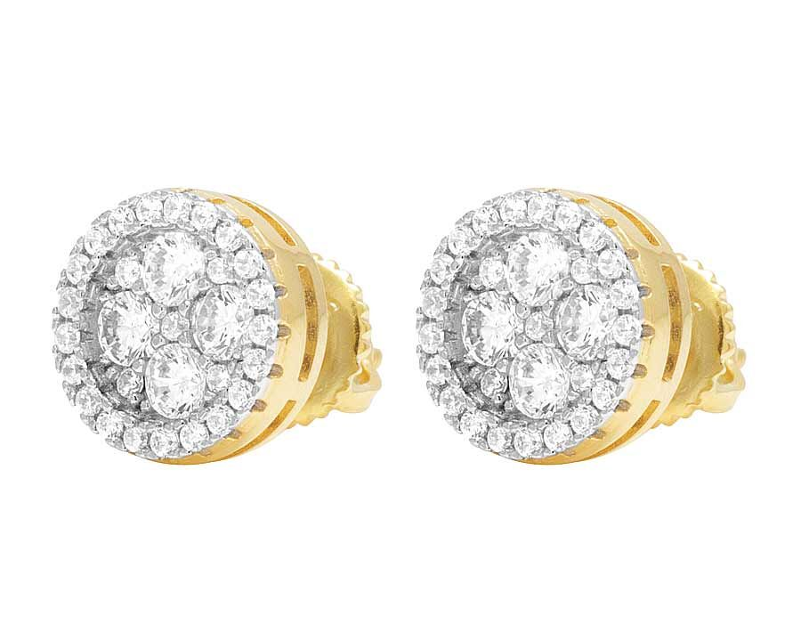 Unisex Yellow Gold Finish Simulated Lab Diamond Round Cluster Stud Earrings 10MM