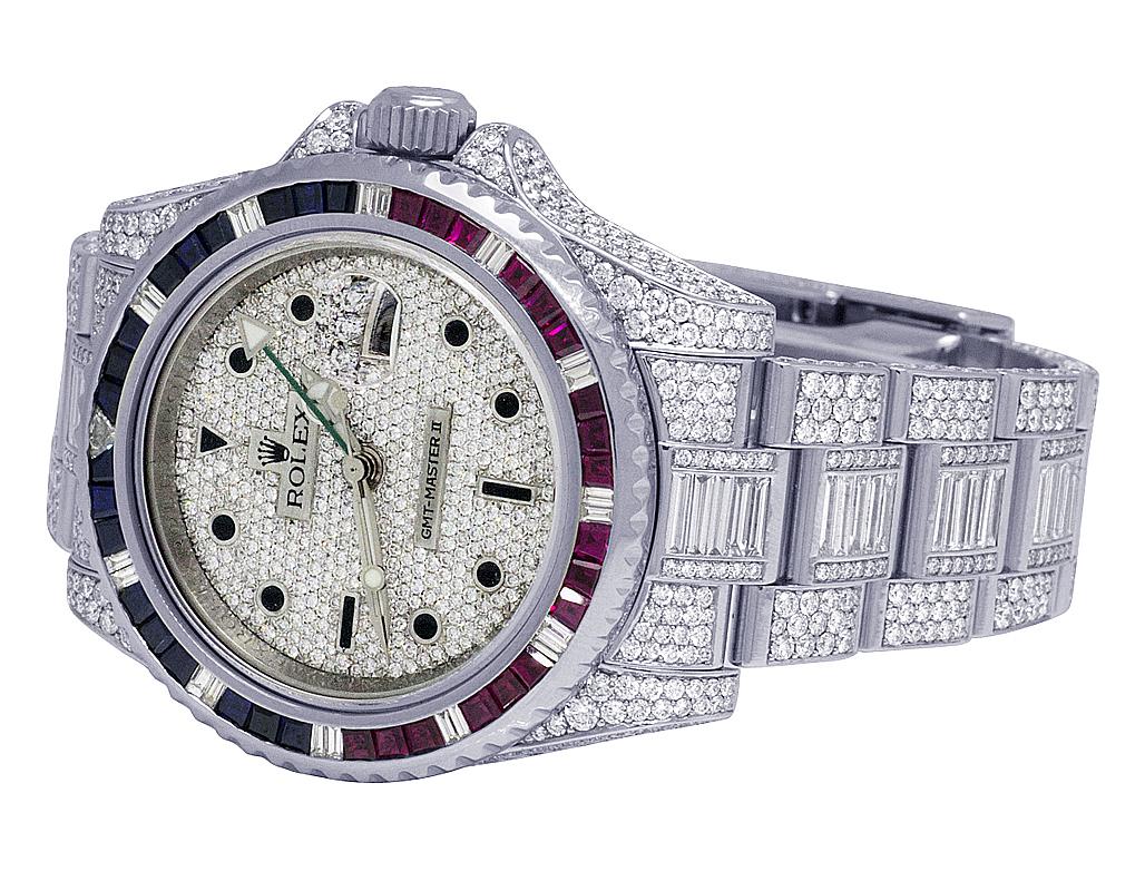 Dettagli su Uomo rolex Oro Gmt Master II 116710 Acciaio 40MM Iced Diamante Orologio 29.95 KT