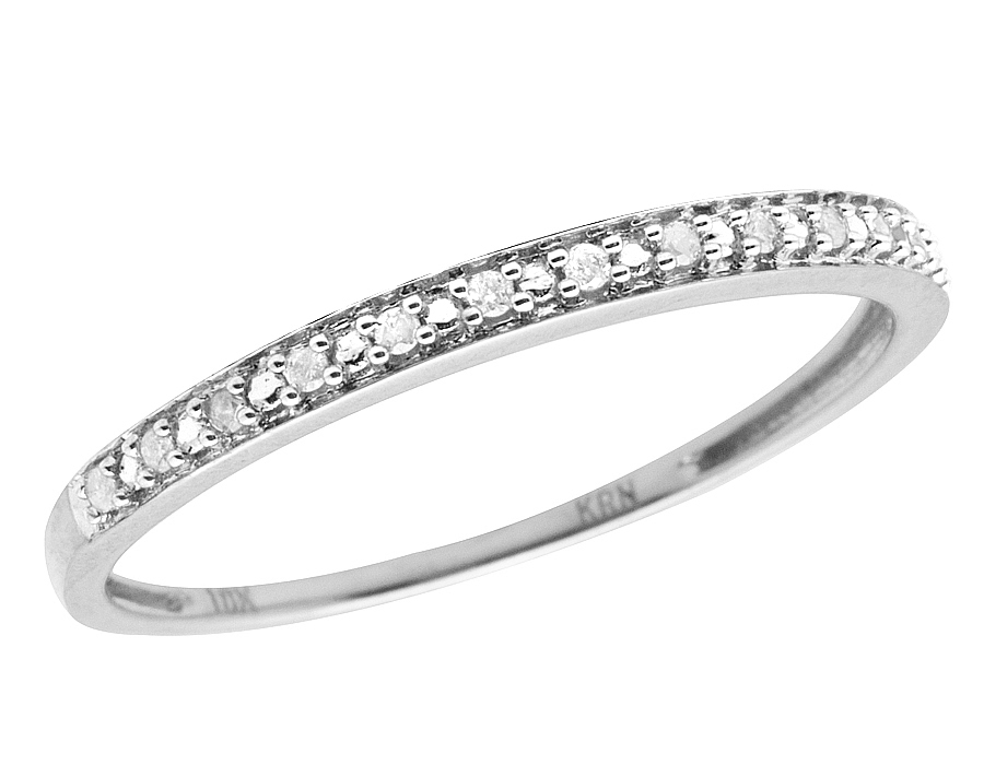 10K White Gold One Row Real Diamond Engagement Wedding Ring Band 005ct 2MM