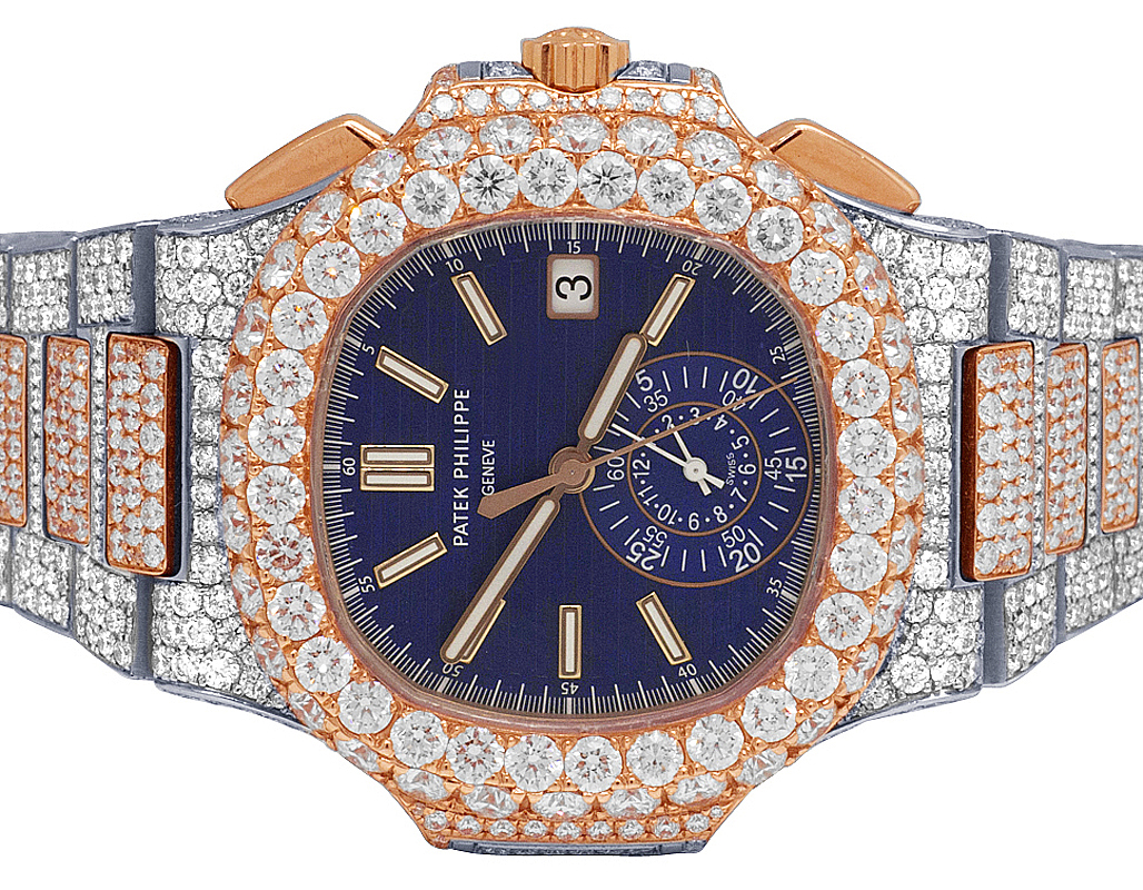 scarpe di separazione 75386 89904 Details about Patek Philippe Nautilus 5980/1AR-001 18K Rose Gold/Steel  Diamond Watch 32.5 Ct