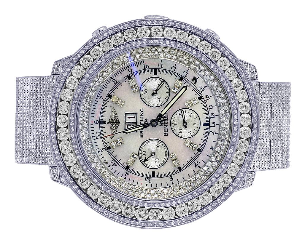 Mens Breitling Bentley 6 75 A4436412 Xl 55mm S Steel Diamond Watch 24 0 Ct 605963319024 Ebay