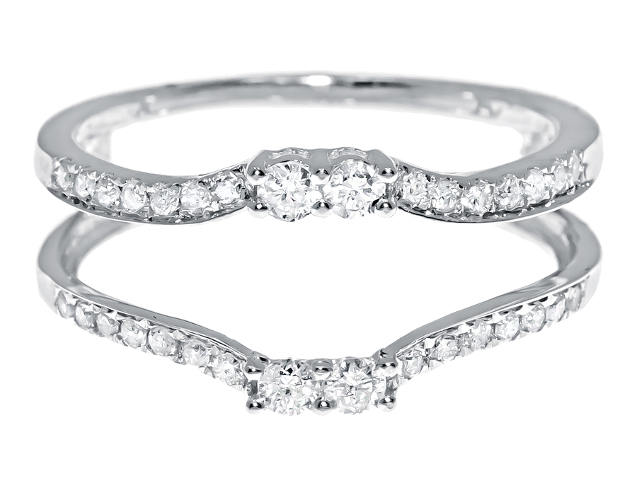 14k White Gold Round Diamond Solitaire Enhancer Wrap Jacket Ring
