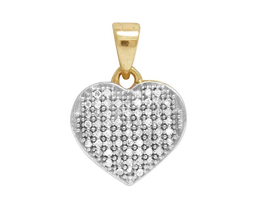 Ladies 10k yellow gold real diamond micro pave heart love pendant 1 ladies 10k yellow gold real diamond micro pave heart love pendant 18 ct 15mm aloadofball Image collections