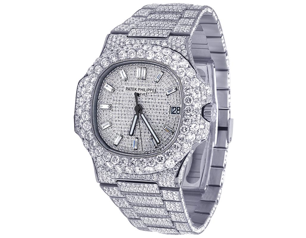 più foto 36681 d8b10 Details about New Mens Patek Philippe Nautilus 5711/1A Steel VVS Diamond  Watch 31.55 Ct