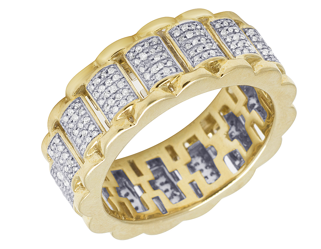 Mens 10k Yellow Gold Presidential Link Real Diamond Eternity Ring Band 910ct: Link Diamond Wedding Band At Reisefeber.org