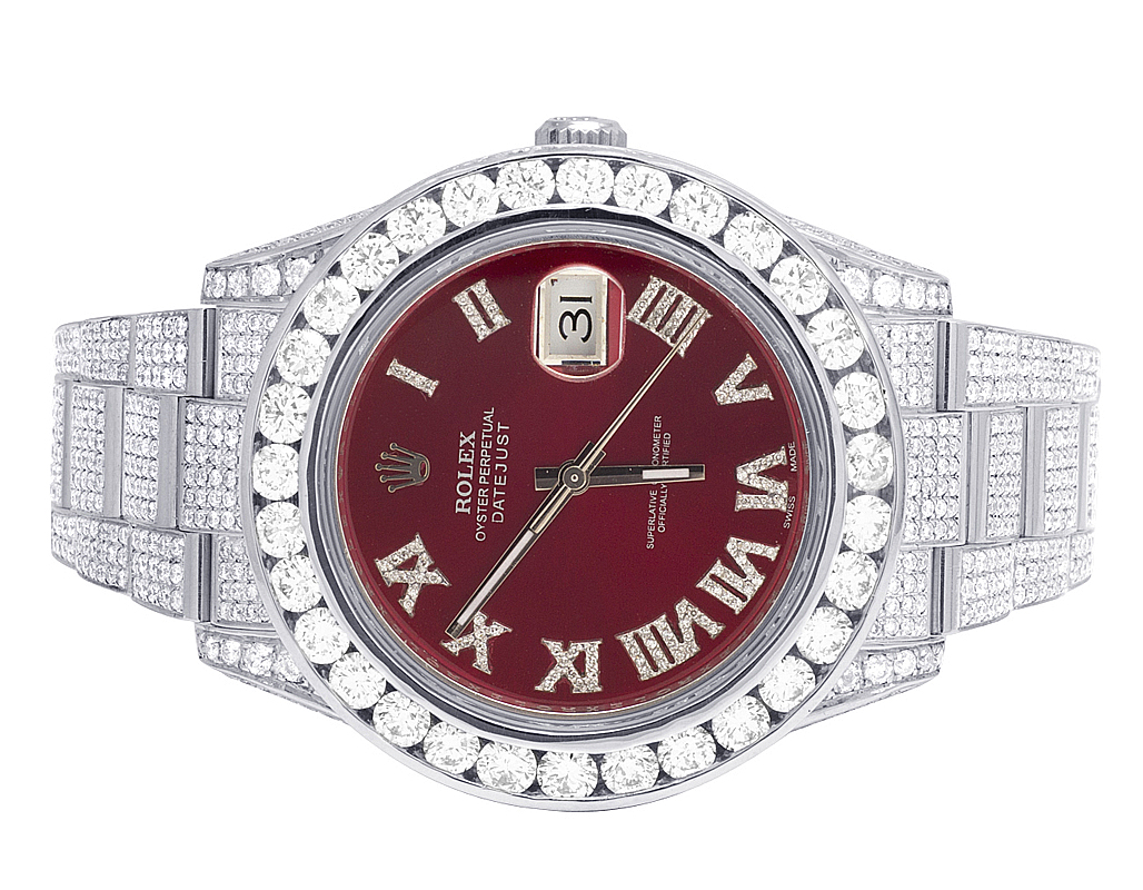 Details about Mens Rolex Datejust II Full Iced 41MM 116300 Red Dial Diamond  Watch 21.5 Ct