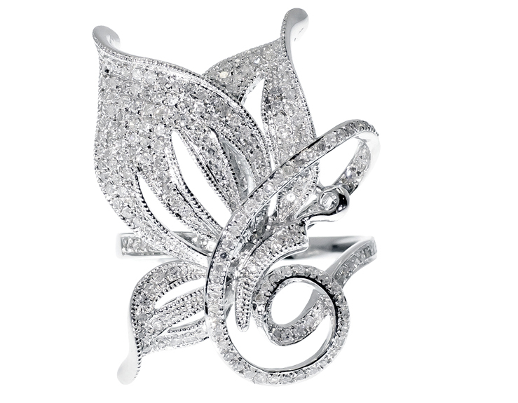 ebee0e056285c Details about White Gold Finish Ladies Pave Diamond XL Butterfly Fashion  Cocktail Ring 1 ct