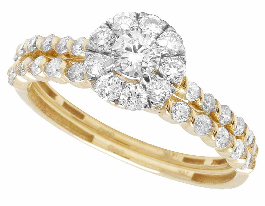 La s 14K Yellow Gold 2 Piece Flower Cluster Diamond Engagement Ring Set 1Ct