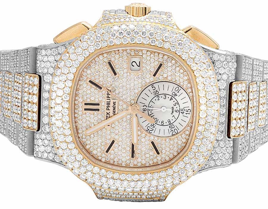 grand choix de d7261 ade8e Details about 18k Rose Gold/Steel Mens Patek Philippe Nautilus 5980/1AR-001  Diamond Watch 32Ct