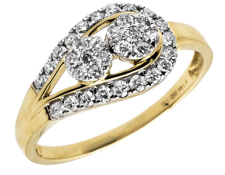 14k yellow gold forever us two stone cluster infinity knot. Black Bedroom Furniture Sets. Home Design Ideas
