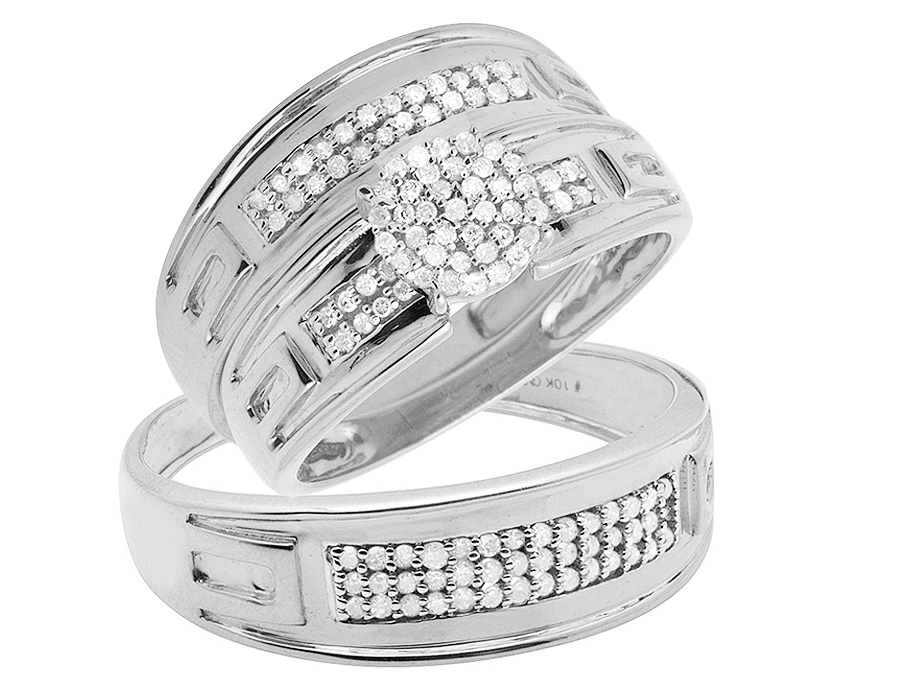 Details About 10k White Gold Real Diamond 3 Piece Engagement Wedding Bridal Ring Set 0 40ct