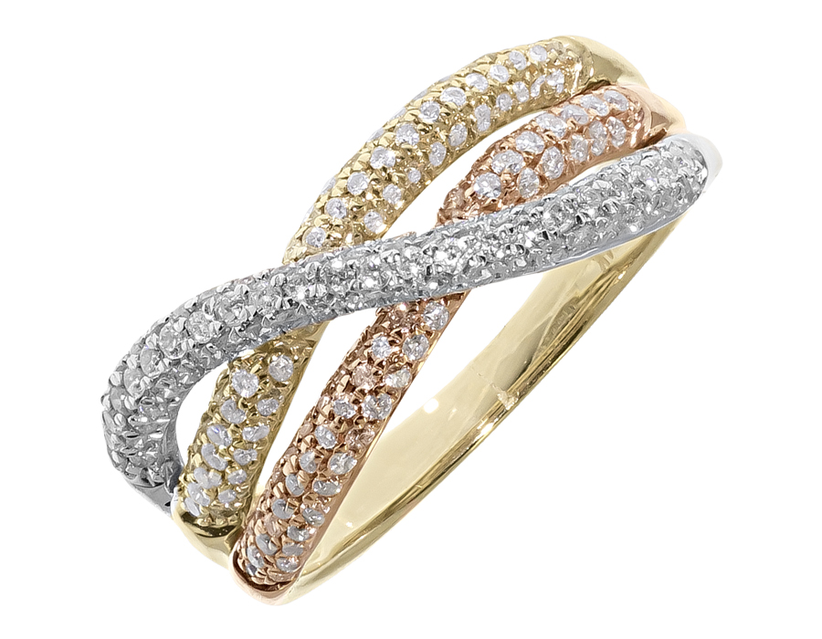 silver women for seamless tri titanium wedding metal rose color tricolor product one three in steel mixed ring rings stainless diamond gold fashion jewelry colors