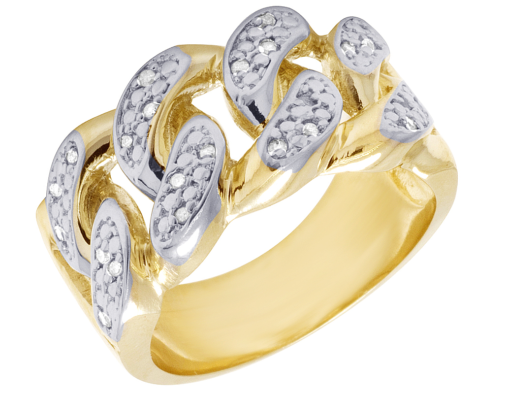 10k Yellow Gold Real Diamond Miami Cuban Link Wedding Band Ring 110 Ct 12mm: Link Diamond Wedding Band At Reisefeber.org