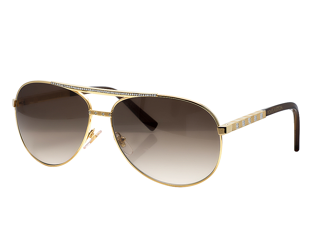 307083b883 Mens Custom Louis Vuitton Brown Shades Attitude Pilote Diamond Sunglasses  Z0339U 1.85CT
