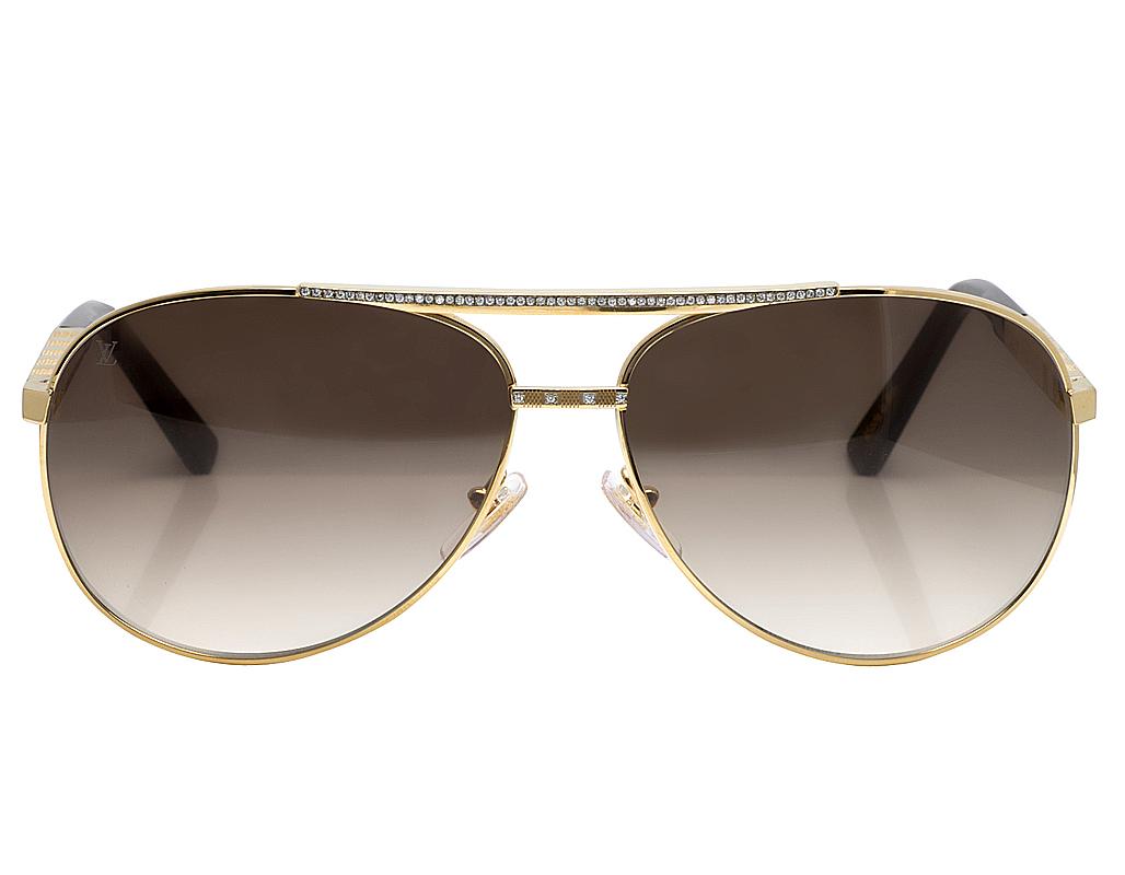c34135d26b Mens Custom Louis Vuitton Brown Shades Attitude Pilote Diamond Sunglasses  Z0339U 1.85CT