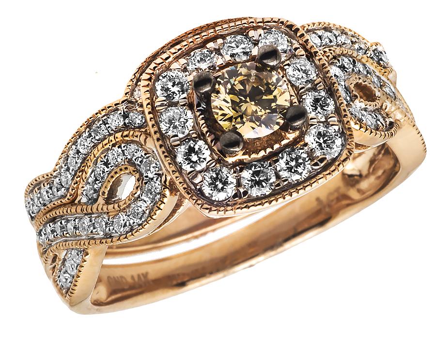 14k rose gold milgrain brown canary diamond infinity shank. Black Bedroom Furniture Sets. Home Design Ideas