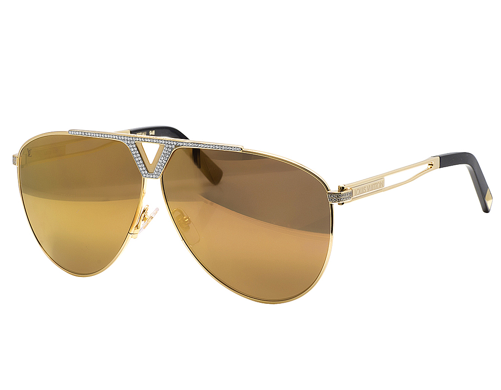 67d335eb5c Mens Louis Vuitton marron lunettes Tonca Custom Diamond lunettes de soleil  Z2314U 1.85 CT