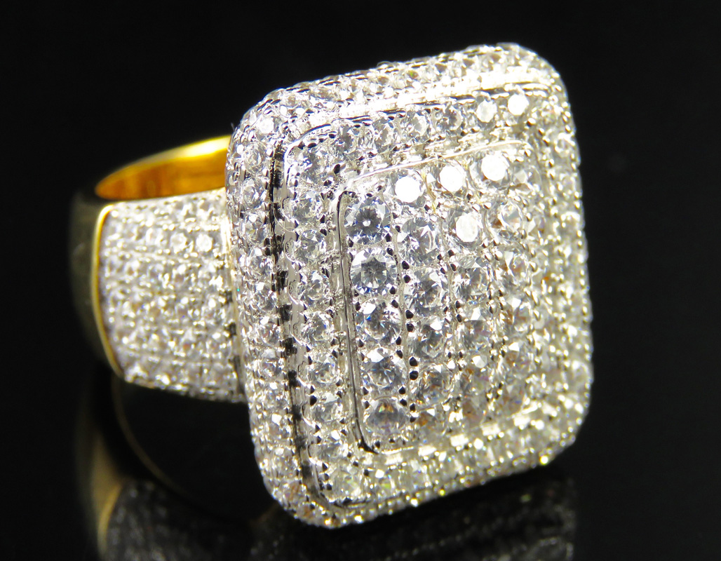 Men/'s 3D Pave Lab Diamond Eternity Style Ring Sterling Silver Yellow Gold Finish