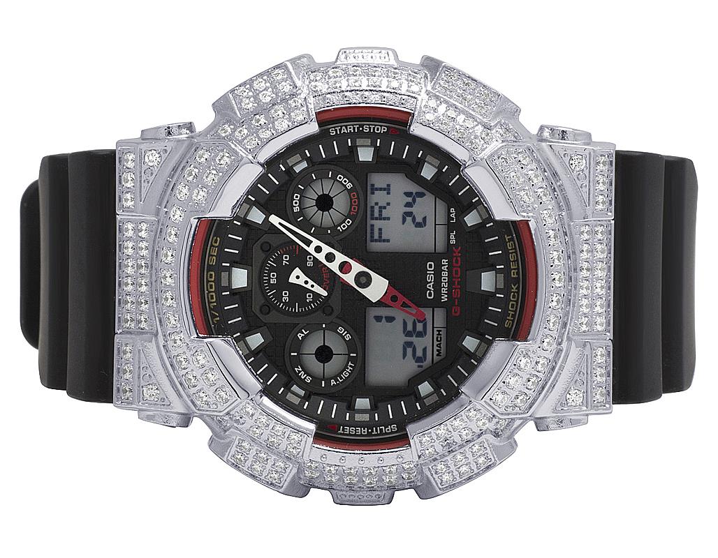 b2a6bcea9004 Para hombre Casio G Shock GA-100-1A4DR Digital 51MM blanco simulado diamantes  reloj Ct 6