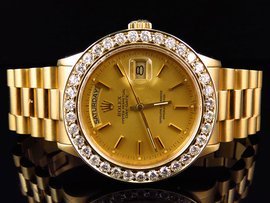 Details about 18k Yellow Gold Mens 36 MM Rolex President Day,Date 18038  Diamond Bezel Watch