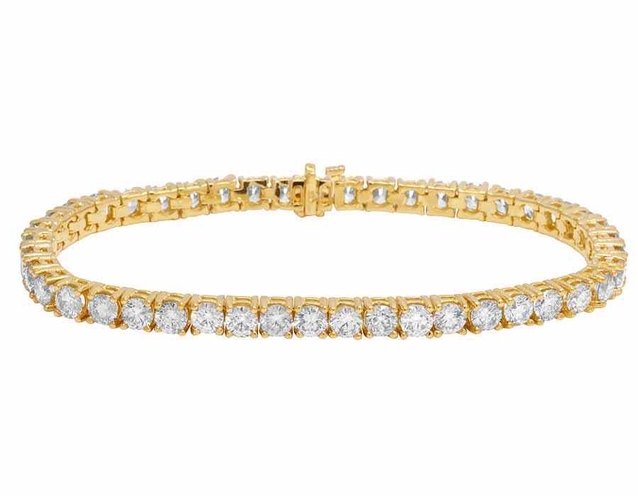 Men s 14K Yellow Gold 1 Row Tennis Solitaire Real Diamond Bracelet