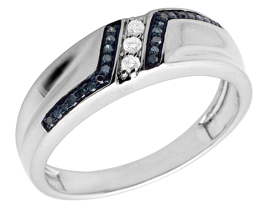Mens Real Irradiated Blue Diamond White Gold Finish Wedding Band Ring 020ct 7MM