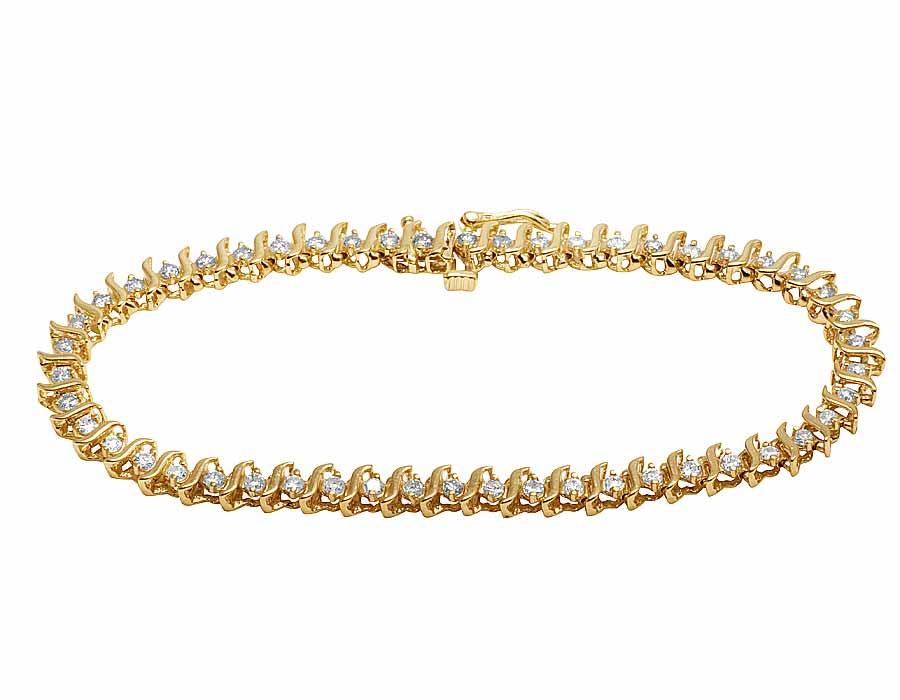 10K Yellow Gold Ladies Genuine Diamond 3mm Designer Tennis ...