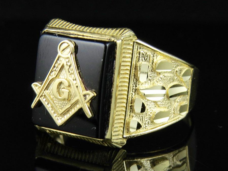 s real 10k yellow gold masonic logo black oynex nugget
