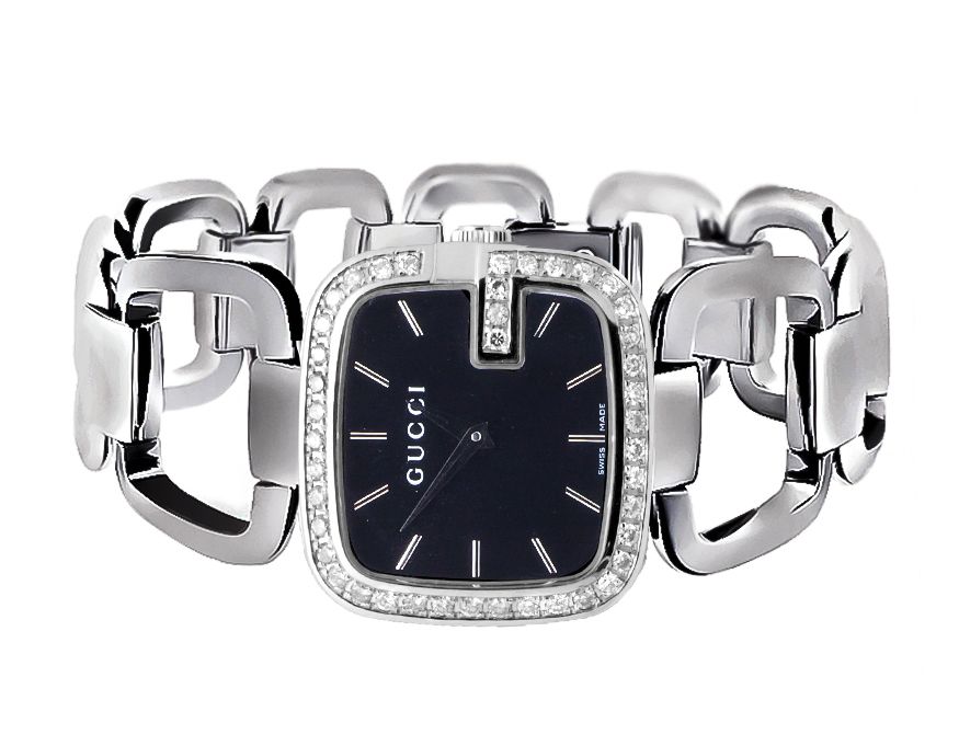 0104f33fcd8 Swiss Made G-Gucci YA125407 Black Dial 2CT Genuine Diamond Stainless Steel  Watch