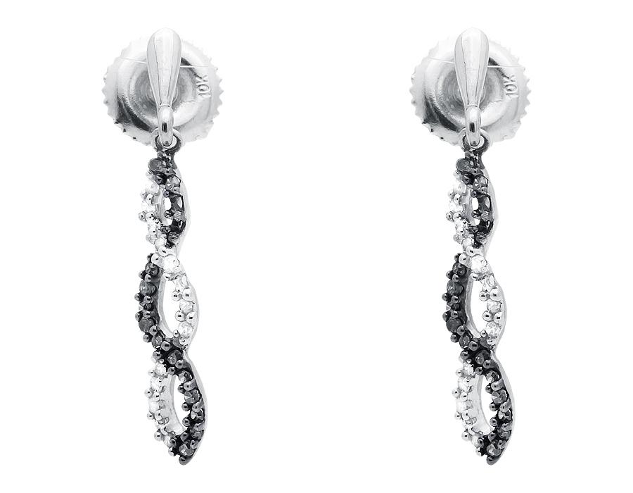 10k White Gold Twist Ribbon Black And Diamond Dangle Drop Earring 0 15ct