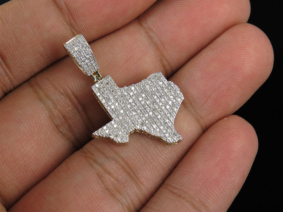 Mens 10k yellow gold iced out real diamond texas map charm pendant mens 10k yellow gold iced out real diamond texas map charm pendant 65ct 125 mozeypictures Choice Image